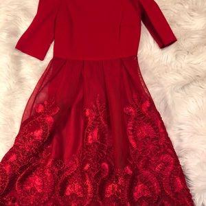 Gianni bonus red dress off the shoulder